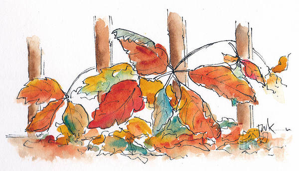Painting - Virginia Creeper Welcomes Fall by Pat Katz