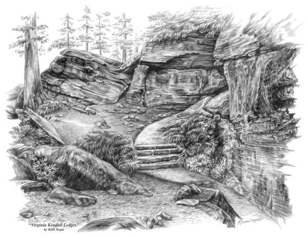 Drawing - Virginia Kendall Ledges - Cuyahoga Valley National Park by Kelli Swan