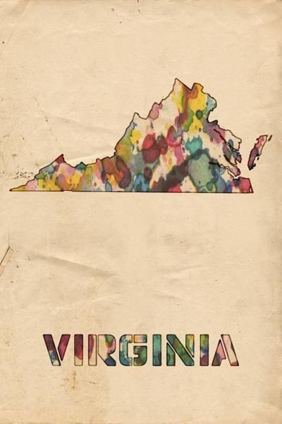Painting - Virginia Map Vintage Watercolor by Florian Rodarte