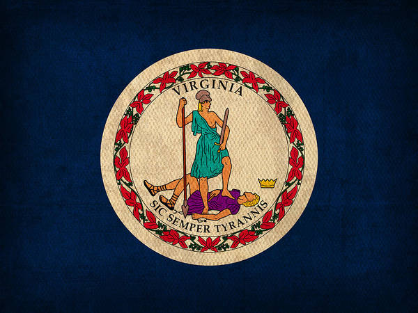 Newport Wall Art - Mixed Media - Virginia State Flag Art On Worn Canvas by Design Turnpike