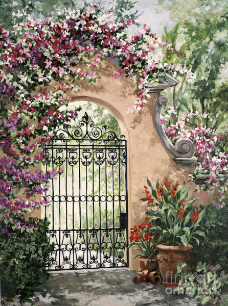 Tropical Garden Painting - Viscaya Gate by Laurie Snow Hein