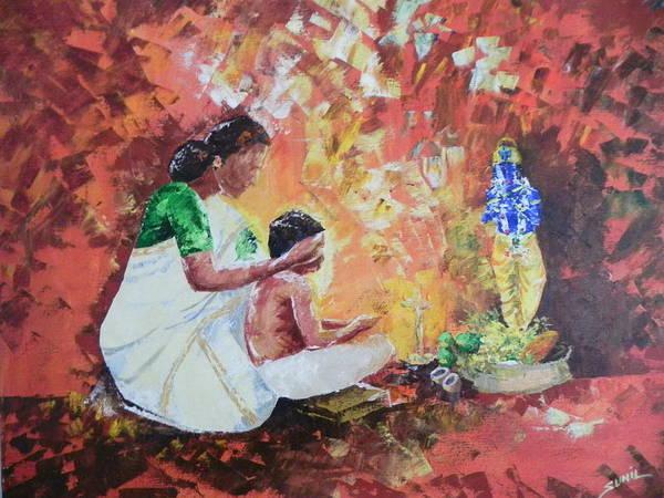 Wall Art - Painting - Vishukkani by Sunil  Moothedath