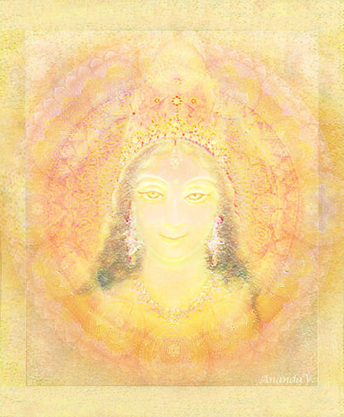 Wall Art - Mixed Media - Vision Of A Goddess - A Being Of Light by Ananda Vdovic
