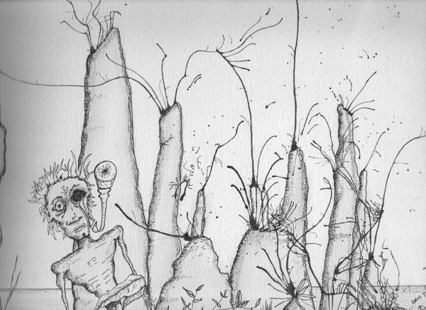 Nerves Drawing - Vision Of Ant Hill by Dan Twyman