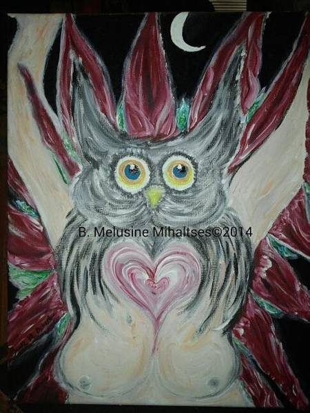 B. Melusine Mihaltses Wall Art - Painting - Vision Of Blodeuwedd The Heart Knows by B Melusine Mihaltses