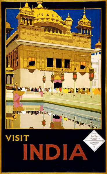 Brochure Drawing - Visit India 1935 by Mountain Dreams