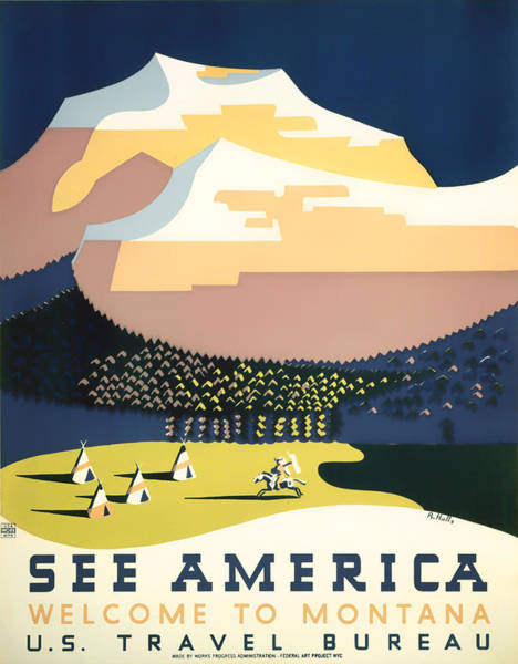 Brochure Drawing - Visit Montana 1937 by Mountain Dreams