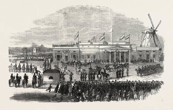 Railroad Station Drawing - Visit Of The King And Queen Of Holland To Amsterdam by English School