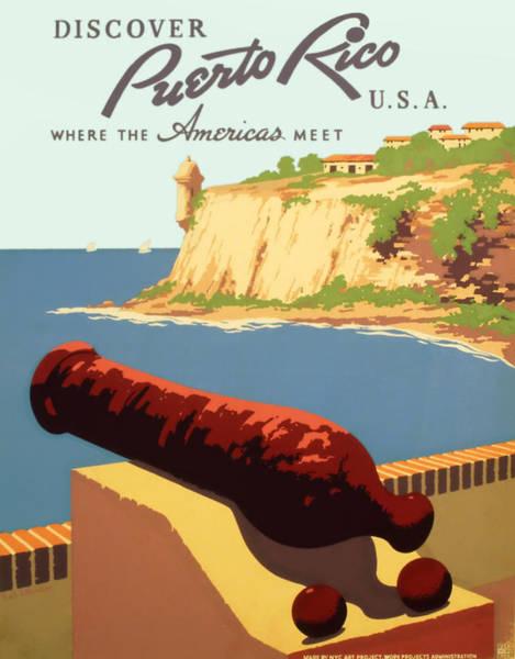 Brochure Drawing - Visit Puerto Rico 1938 by Mountain Dreams