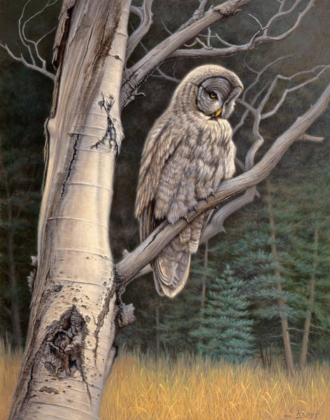 Wall Art - Painting - Visitor From The North-great Grey Owl by Paul Krapf