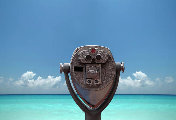 Binoculars Photograph - Visor Pointed To Blue Sea by Buena Vista Images