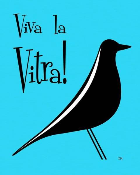 Digital Art - Vitra Bird On Turquoise by Donna Mibus