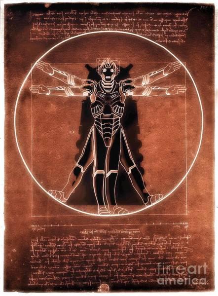 Digital Art - Vitruvian Cyberman On Mars by Helge