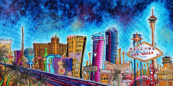 City Cafe Wall Art - Painting - Viva Las Vegas A Fun And Funky Pop Art Painting Of The Vegas Skyline And Sign By Megan Duncanson by Megan Duncanson