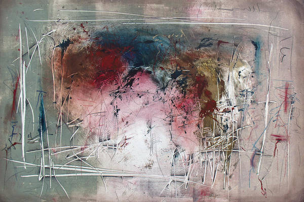 Monotype Mixed Media - Vivaldi's Fancy by Jeannette Debonne