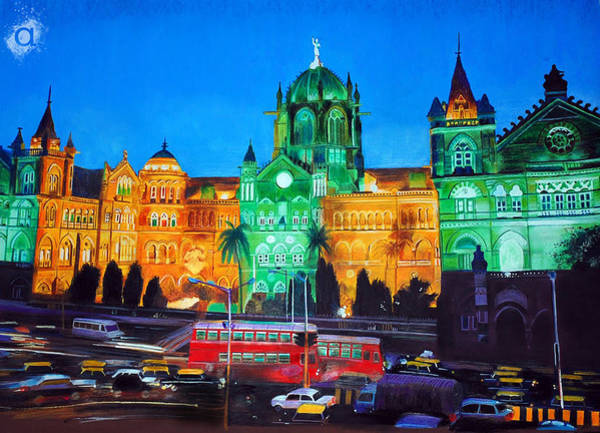 Mumbai Painting - Vivid Cst Mumbai by Atish Banerjee