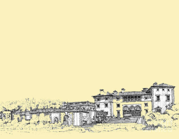 Planner Wall Art - Drawing - Vizcaya In Cream  by Building  Art
