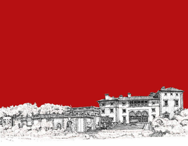 Planner Wall Art - Drawing - Vizcaya In Red by Building  Art