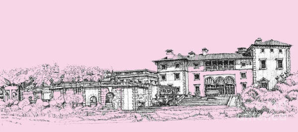 Pink Drawing - Vizcaya Museum And Gardens Baby Pink by Building  Art