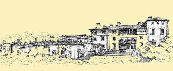 Planner Wall Art - Drawing - Vizcaya Museum And Gardens In Peachy Cream by Building  Art