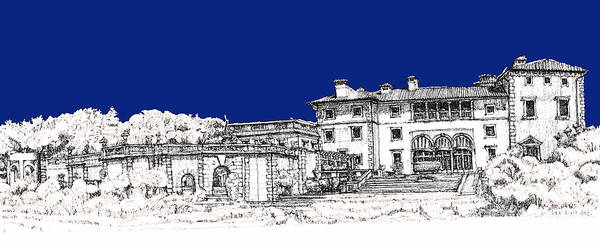 Planner Wall Art - Drawing - Vizcaya Museum And Gardens In Royal Blue by Building  Art