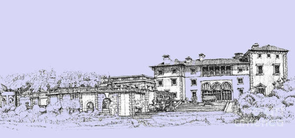Vizcaya Museum And Gardens In Soft Blue Art Print