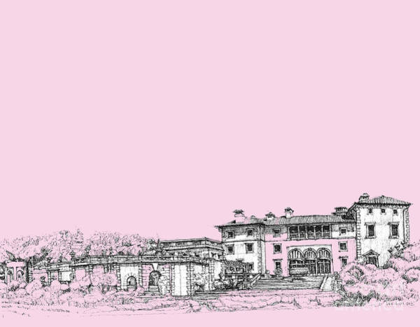 Pink Drawing - Vizcaya Museum In Pink by Building  Art