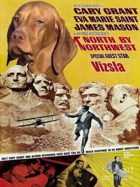 Wall Art - Painting - Vizsla Art Canvas Print - North By Northwest Movie Poster by Sandra Sij