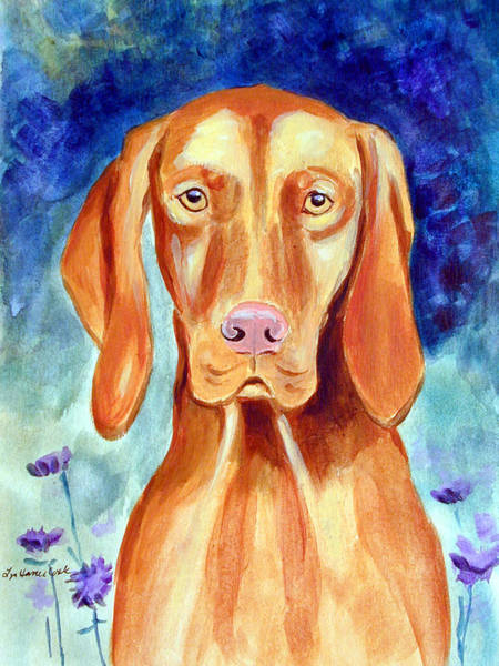Wall Art - Painting - Vizsla In Mom's Garden by Lyn Cook