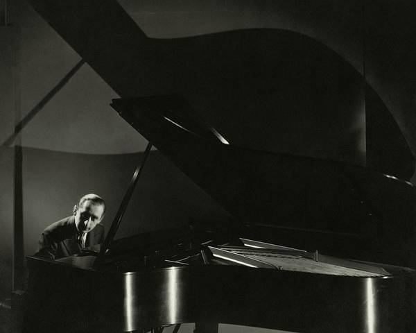 Music Photograph - Vladimir Horowitz At A Grand Piano by Edward Steichen