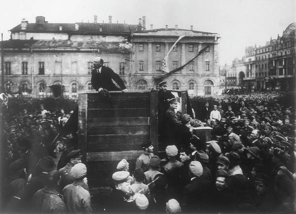 Addressing Photograph - Vladimir Ilich Ulyanov Lenin  Russian by Mary Evans Picture Library