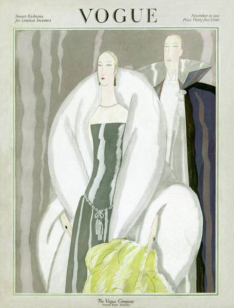 1921 Photograph - Vogue Cover Featuring A Couple In Evening Wear by Eduardo Garcia Benito