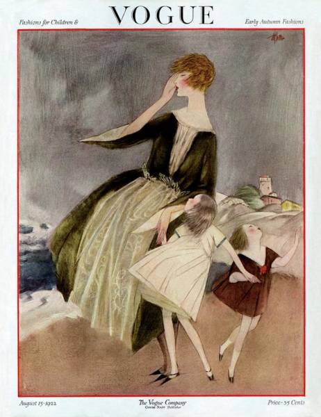 Wind Photograph - Vogue Cover Featuring A Mother And Her Two by Henry R. Sutter