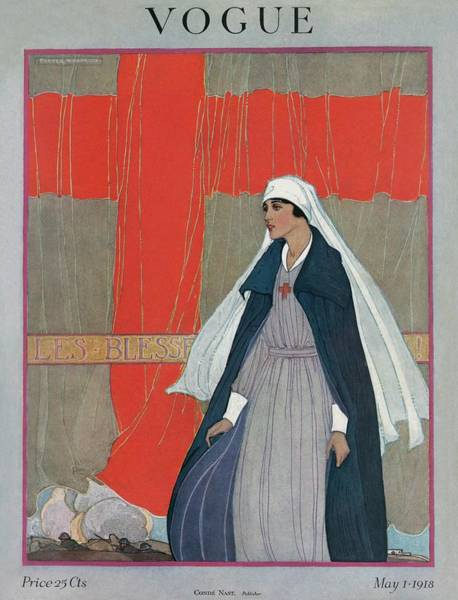 Photograph - Vogue Cover Featuring A Nurse by Porter Woodruff