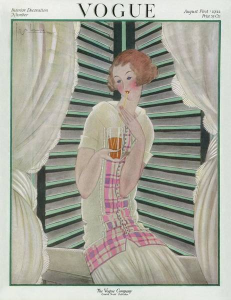 Drink Photograph - Vogue Cover Featuring A Woman Drinking by Georges Lepape