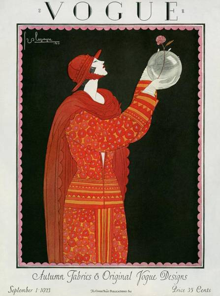 Red Flower Photograph - Vogue Cover Featuring A Woman Holding A Bowl by Georges Lepape