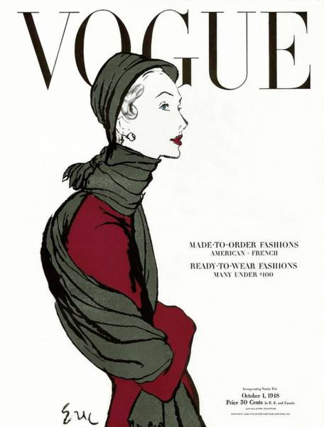 Warm Photograph - Vogue Cover Featuring A Woman In A Grey Scarf by Carl Oscar August Erickson