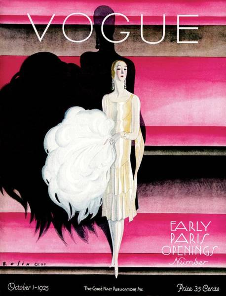 Vogue Cover Featuring A Woman In An Evening Dress Art Print