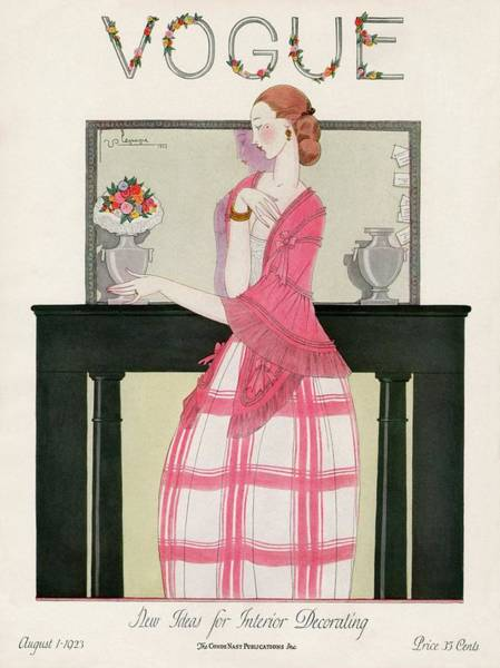 Vase Photograph - Vogue Cover Featuring A Woman In Front by Georges Lepape