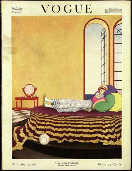 Bed Photograph - Vogue Cover Featuring A Woman Lying In Bed by George Wolfe Plank