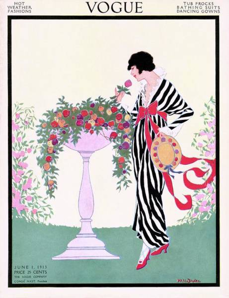 Vogue Cover Featuring A Woman Smelling A Rose Art Print by Helen Dryden