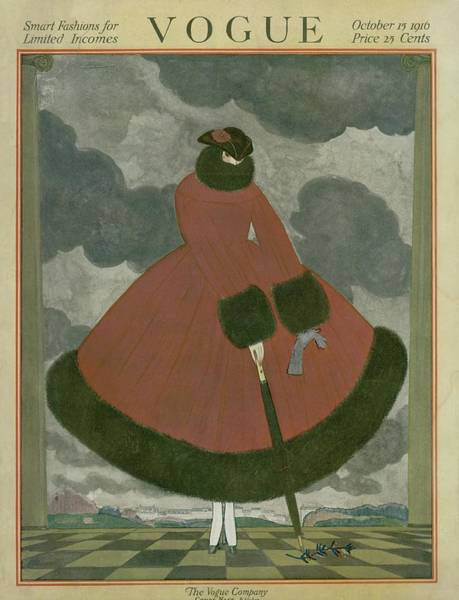 Red Coat Photograph - Vogue Cover Featuring A Woman Surrounded By Storm by George Wolfe Plank