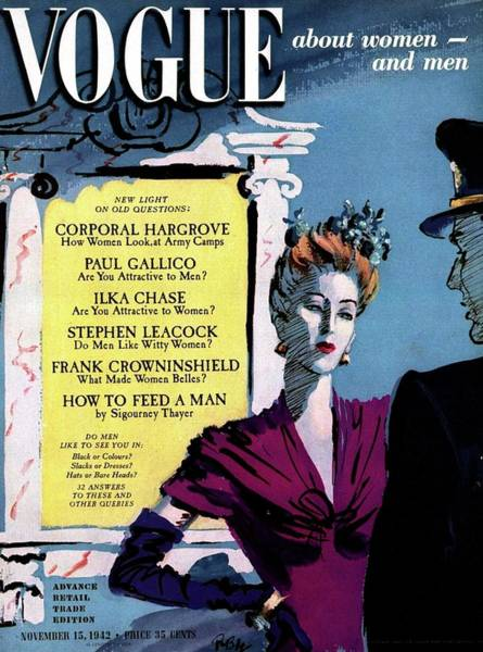 1942 Photograph - Vogue Cover Featuring A Woman Talking To A Man by Rene Bouet-Willaumez