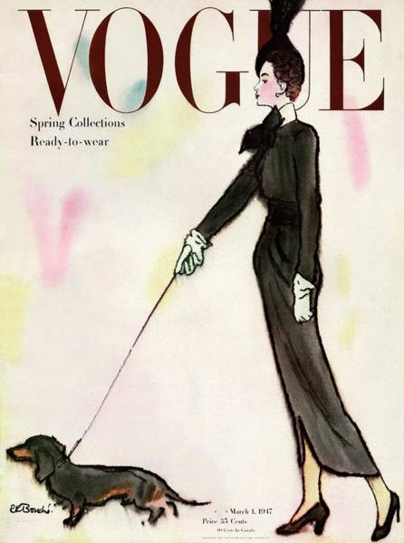 Gloves Photograph - Vogue Cover Featuring A Woman Walking A Dog by Rene R. Bouche
