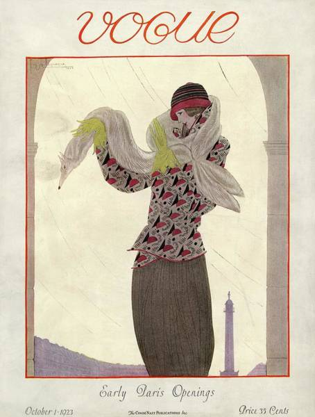 1923 Photograph - Vogue Cover Featuring A Woman With A Fox Stole by Georges Lepape
