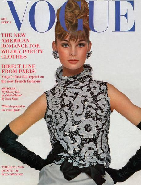 Jewelry Photograph - Vogue Cover Featuring Jean Shrimpton by Bert Stern