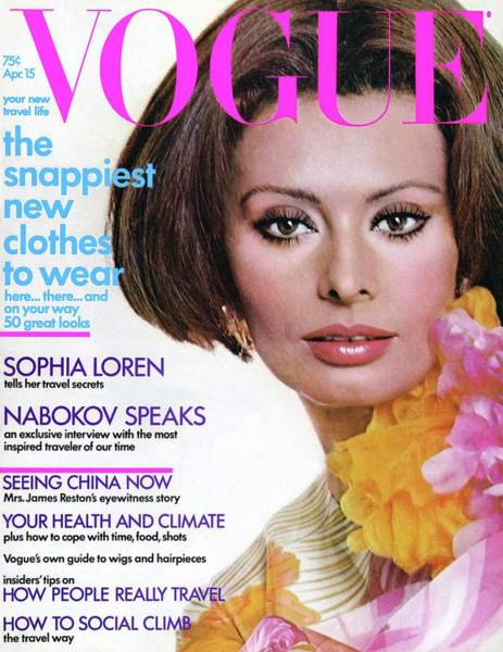 1972 Photograph - Vogue Cover Featuring Sophia Loren by Henry Clarke