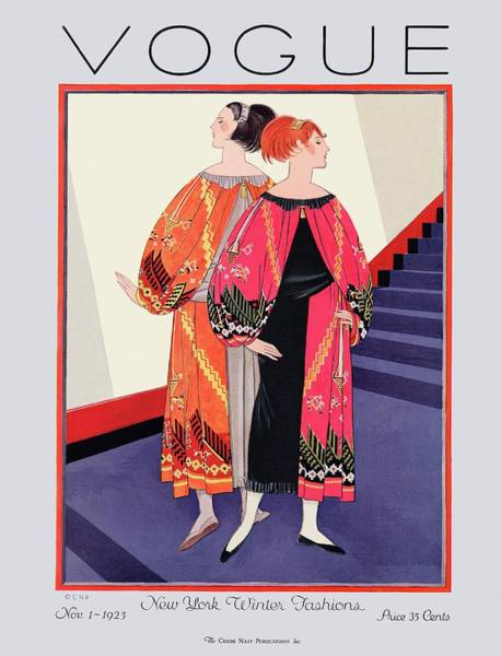 Staircase Photograph - Vogue Cover Featuring Two Women With Colorful by Georges Lepape