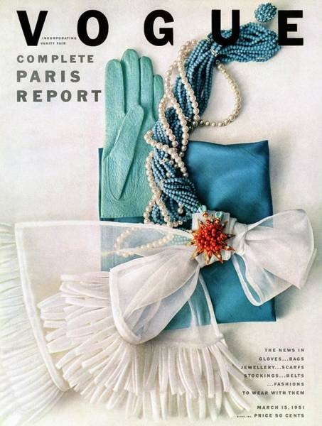 Blue Photograph - Vogue Cover Featuring Various Accessories by Richard Rutledge