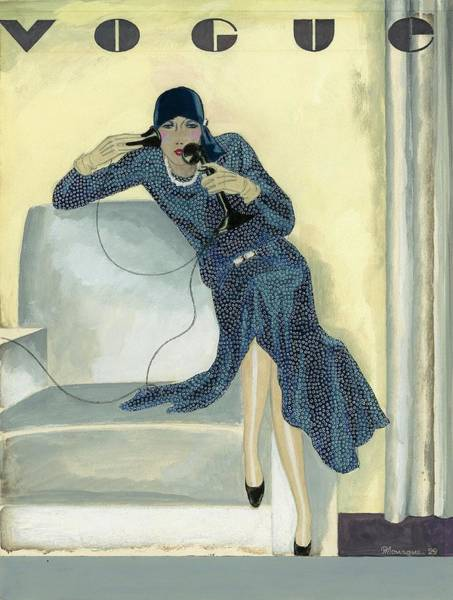 High Heels Digital Art - Vogue Cover Illustration Featuring Woman Talking by Pierre Mourgue